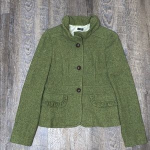 J Crew Wool Tweed Blazer w/Ruffle Neck & Pockets